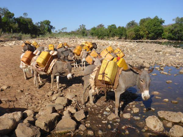 aber jetzt in der Trockenzeit fließt nur wenig Wasser
