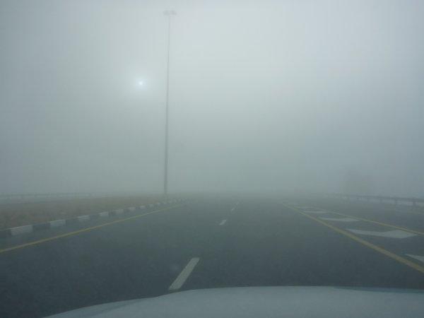 Start bei dickem Nebel